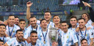 Messi celebrates with teammates