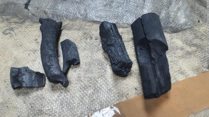 The cocaine was made to look like charcoal.