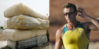 """NATHAN BAGGALEY (PICTURED) WAS ARRESTED IN 2018 FOR PLAYING AN """"IMPORTANT ROLE"""" IN A LARGE-SCALE DRUG-SMUGGLING OPERATION. PHOTOS BY AFP / STRINGER VIA GETTY IMAGES (L) AND MLADEN ANTONOV / AFP (R)"""