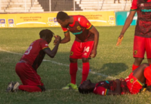 Asante Kotoko players in pain after bowing out of the FA Cup