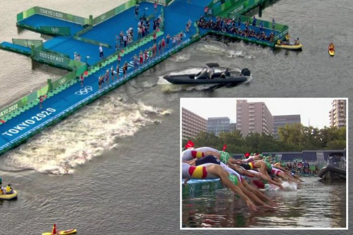 A boat was in the way of athletes as they dived into the water in shocking scenes