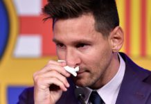 The tissue Messi used to wipe his tears at his Barcelona press conference / PAU BARRENA/Getty Images