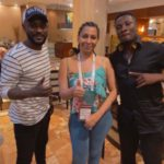 Asamoah Gyan [R] with Mimi Fawaz [M] of BBC