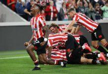 Brentford players celebrate