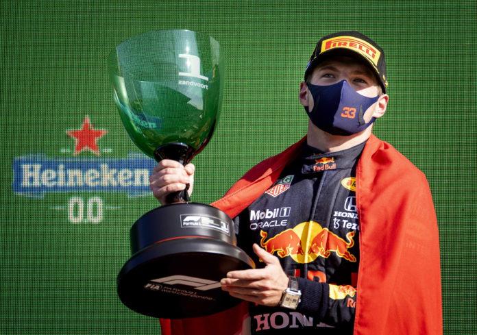 Max Verstappen (Red Bull Racing) celebrates winning the Dutch Formula One Grand Prix at Zandvoort, the Netherlands, 05 September 2021. EPA/KOEN VAN WEEL