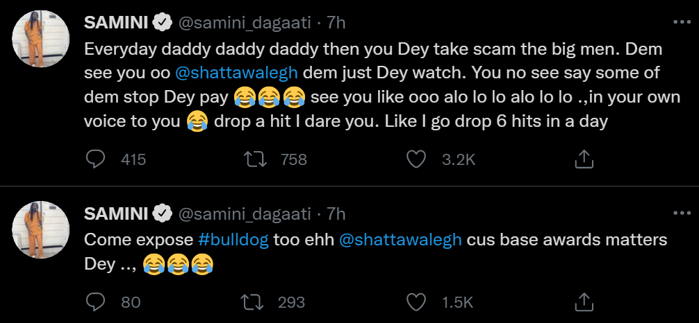 You are always begging people, stop fo*ling - Samini tells Shatta Wale in latest tweets