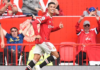 Cristiano Ronaldo celebrates after scoring the opening goal of the match between Manchester United and Newcastle.