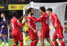 WATFORD, ENGLAND - OCTOBER 16: Mohamed Salah of Liverpool celebrates with teammates Naby Keita, Trent Alexander-Arnold and Roberto Firmino after scoring their side's fourth goal during the Premier League match between Watford and Liverpool at Vicarage Roa Image credit: Getty Images