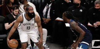 Brooklyn Nets guard James Harden (L) is defended by Minnesota Timberwolves forward Taurean Prince (R) in the first half of the NBA preseason basketball game between the Brooklyn Nets and the Minnesota Timberwolves at Barclays Center in Brooklyn, New York, USA, 14 October 2021. EPA/Peter Foley SHUTTERSTOCK OUT