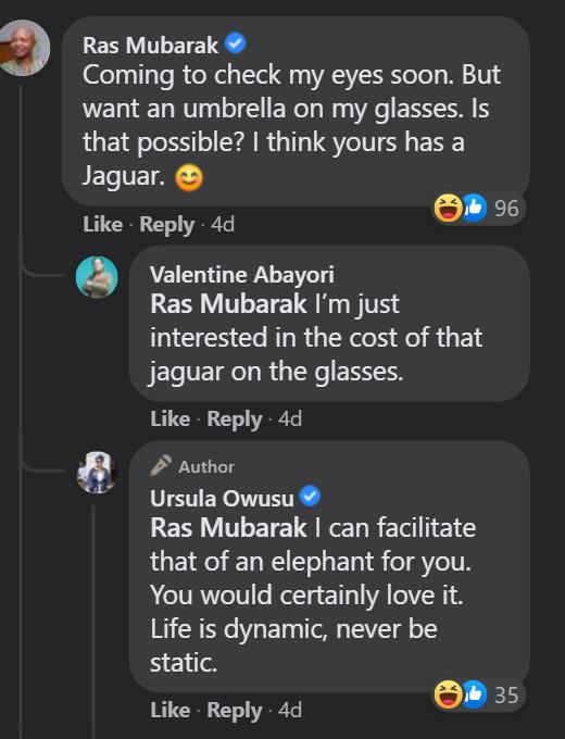 Ras Mubarak interacts with Communications Minister Ursula Owusu over her  Anna-Karin Karlsson sunglasses